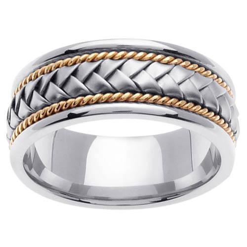 Platinum & 18kt Two Tone Wedding Ring in 8.5mm Comfort Fit Platinum Wedding Rings deBebians