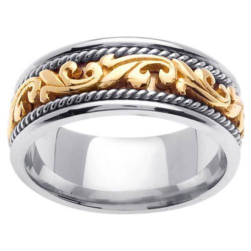Platinum & 18kt Yellow Gold Wedding Ring in 9mm Comfort Fit Platinum Wedding Rings deBebians