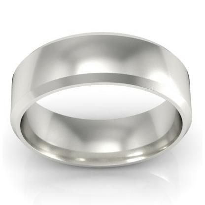Beveled Ring in Platinum for Women 6mm
