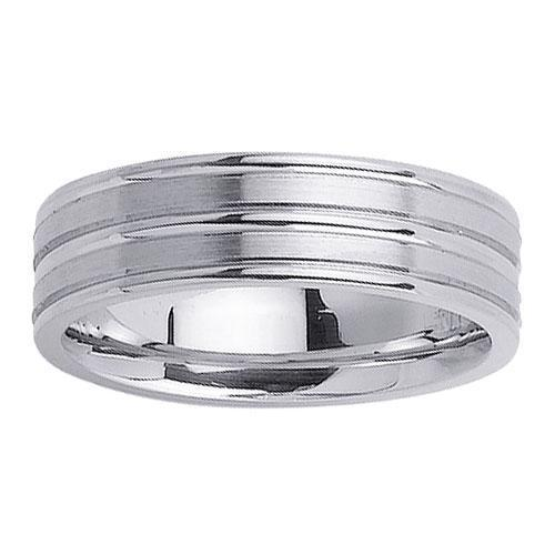 Brushed and Grooved Platinum Wedding Ring