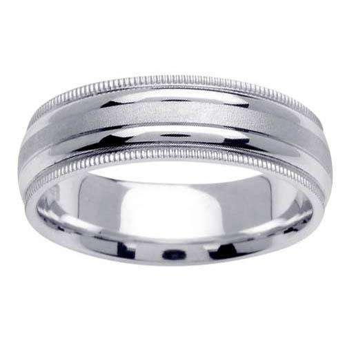 Dual Finish Platinum Ring with Milgrain Platinum Wedding Rings deBebians
