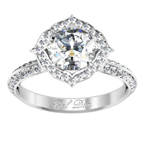 Pointed Floral Halo Engagement Ring Halo Engagement Rings deBebians
