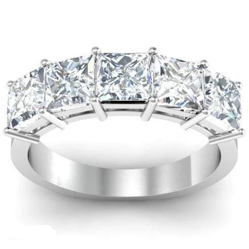 Round Five Diamond Engagement Ring with Trellis Setting