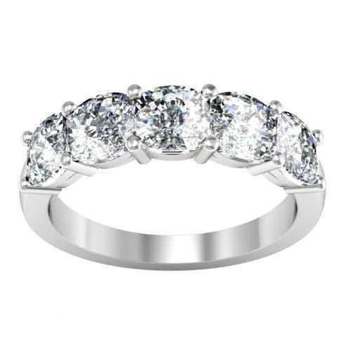 3.00cttw Shared Prong Cushion Cut Diamond Five Stone Ring Five Stone Rings deBebians
