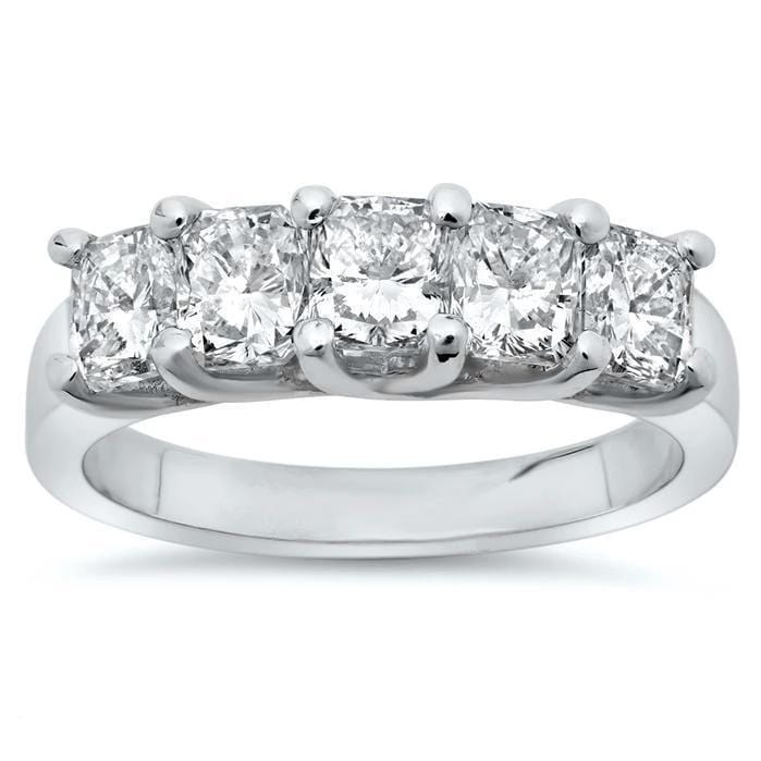 3.00cttw Shared Prong Cushion Cut Diamond Five Stone Ring