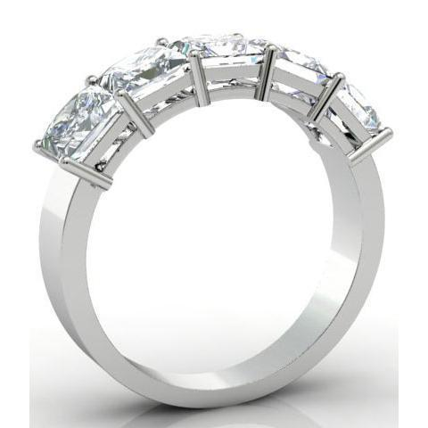 3.00cttw Shared Prong Radiant Cut Diamond Five Stone Ring Five Stone Rings deBebians
