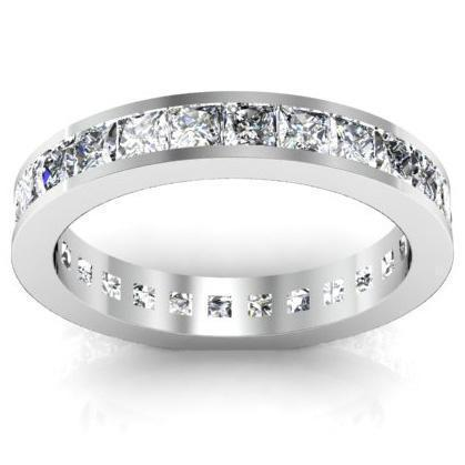 2.25 cttw Princess Cut Channel Set Diamond Eternity Band Diamond Eternity Rings deBebians