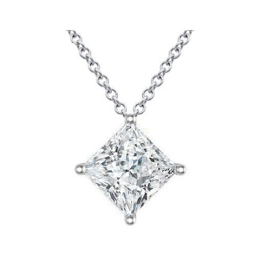 Princess Cut Kite Diamond Setting Pendant Solitaire Necklaces deBebians