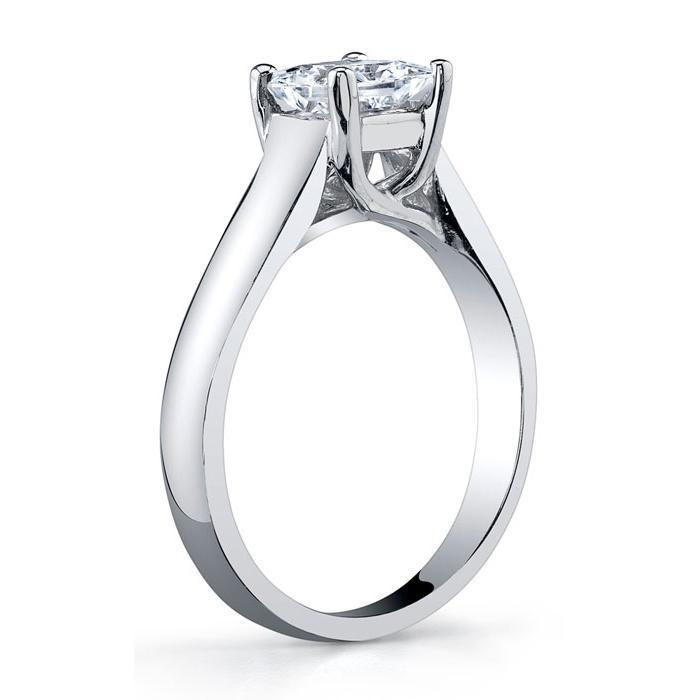 Princess Cut Trellis Solitaire Ring 3.5mm Wide Solitaire Engagement Rings deBebians