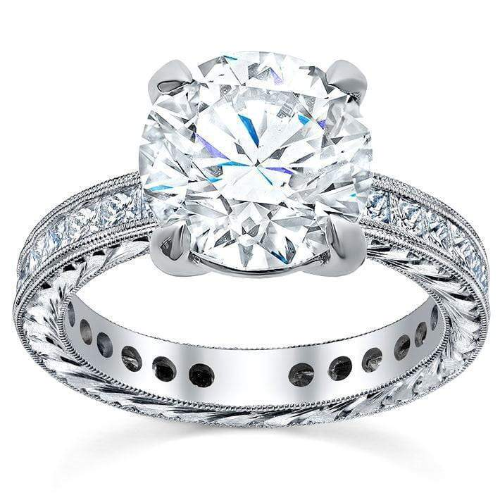 Princess Diamond Accented Hand-Engraved Engagement Ring Sapphire Engagement Rings deBebians
