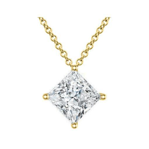 Princess Diamond Pendant Kite Set Solitaire Necklaces deBebians
