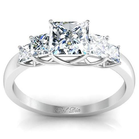 Princess Five Stone Engagement Ring with Trellis Setting Diamond Accented Engagement Rings deBebians