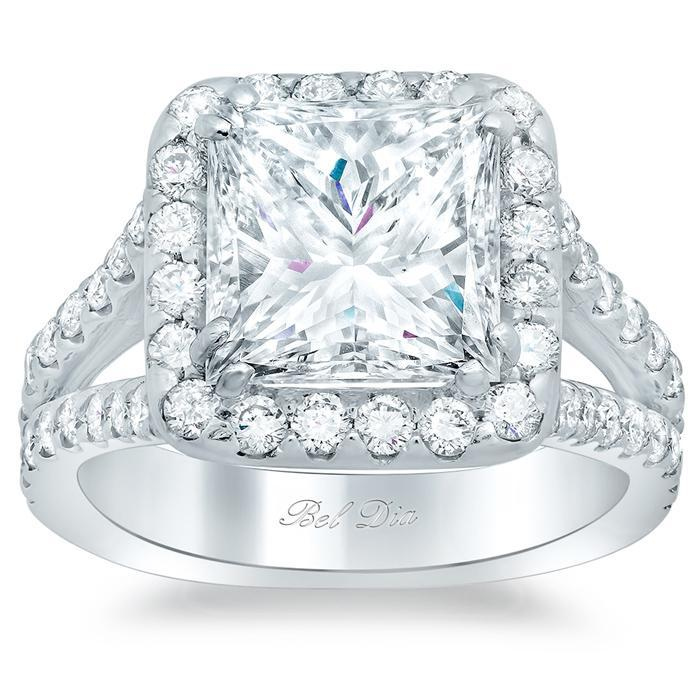 Princess Halo Engagement Ring Halo Engagement Rings deBebians