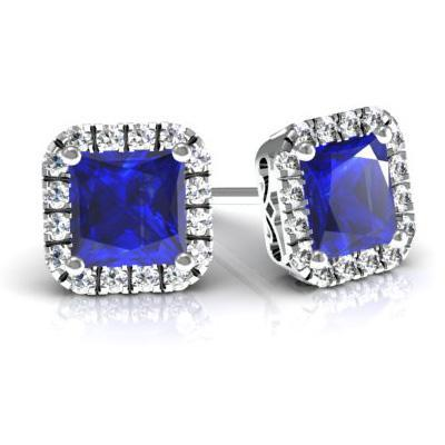 Princess Halo Studs with Blue Sapphires Diamond Halo Earrings deBebians