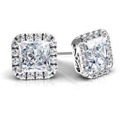 Princess Halo Studs with Diamonds Diamond Halo Earrings deBebians