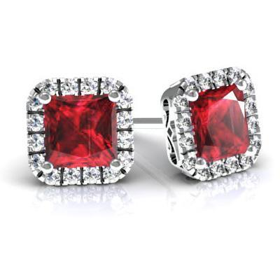 Princess Halo Studs with Rubies Diamond Halo Earrings deBebians