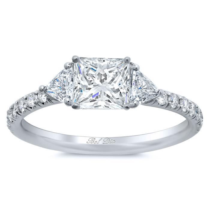 Princess Three Stone Engagement Ring with Pave Band Diamond Accented Engagement Rings deBebians