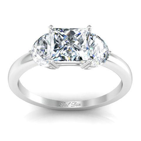 Princess Three Stone Ring with Half-Moons Diamond Accented Engagement Rings deBebians