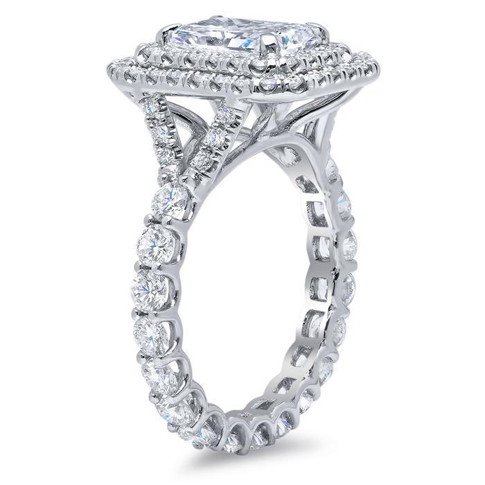 Radiant Diamond Baby Split Double Halo Engagement Ring with Eternity Style Band Double Halo Engagement Rings deBebians