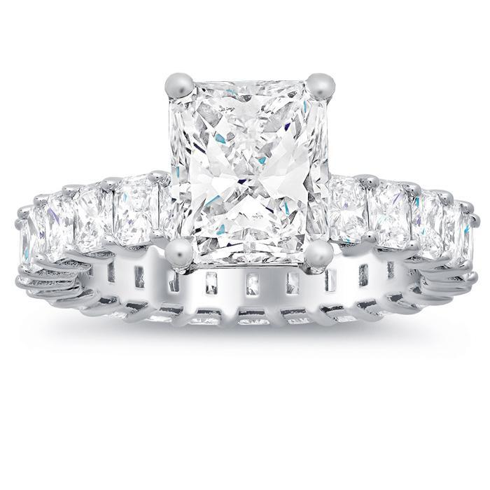 Radiant Diamond Eternity Engagement Ring Diamond Accented Engagement Rings deBebians