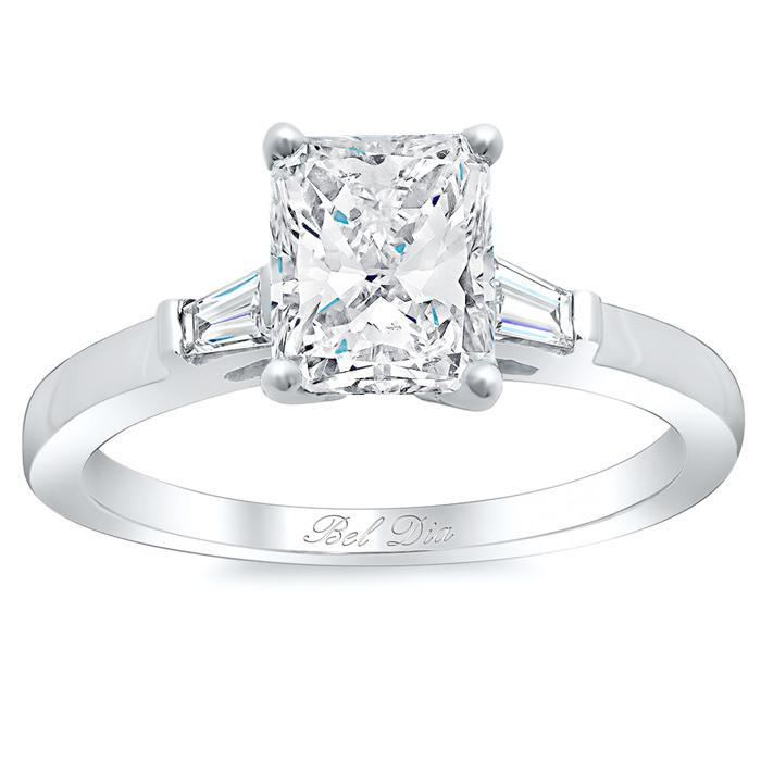 Radiant Three Stone Engagement Ring with Baguettes Diamond Accented Engagement Rings deBebians