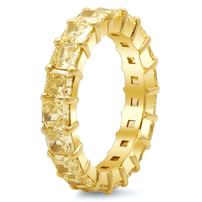 Radiant Cut Shared Prong Yellow Diamond Eternity Band - 4.00 carat Diamond Eternity Rings deBebians