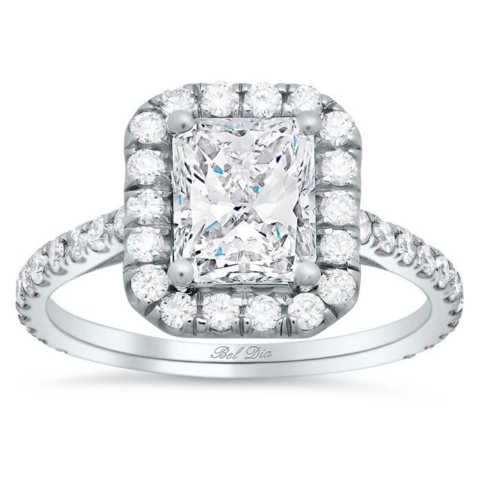 Rectangular Halo Engagement Ring