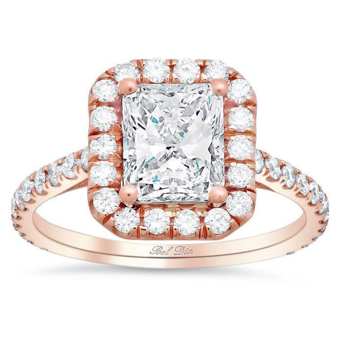 Radiant Forever One Charles & Colvard Halo Engagement Ring Moissanite Engagement Rings deBebians