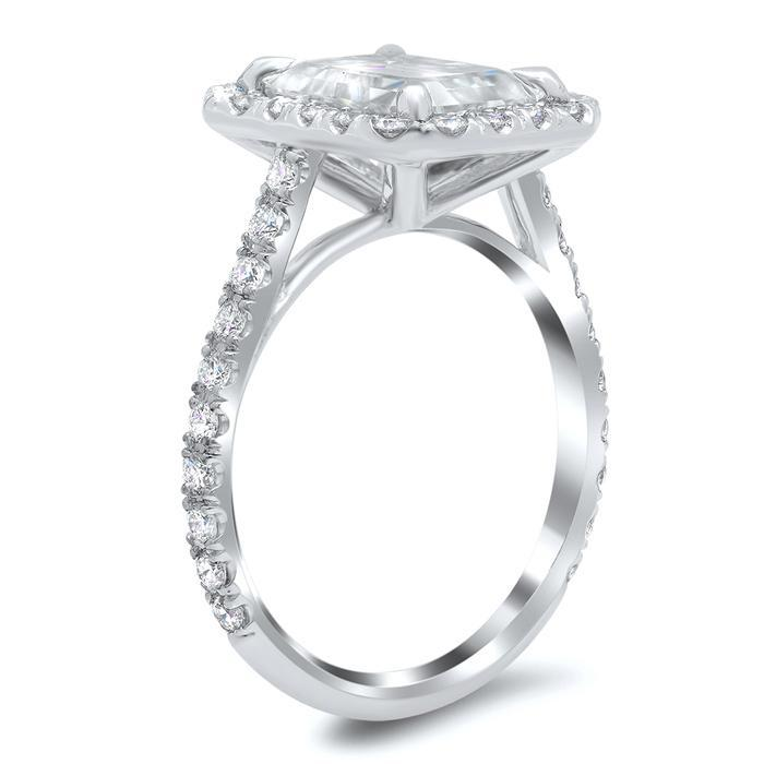 Rectangular Halo Engagement Ring Halo Engagement Rings deBebians