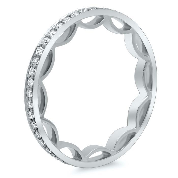 Round Brilliant Cut Pave Set Diamond Eternity Band - 0.50 carat Diamond Eternity Rings deBebians