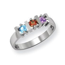 14k Mother's Ring with Six Genuine Birthstones and Diamond Accents
