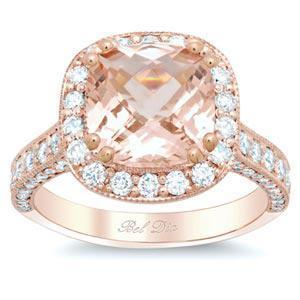 Rose Gold Engagement Ring Setting Halo Engagement Rings deBebians