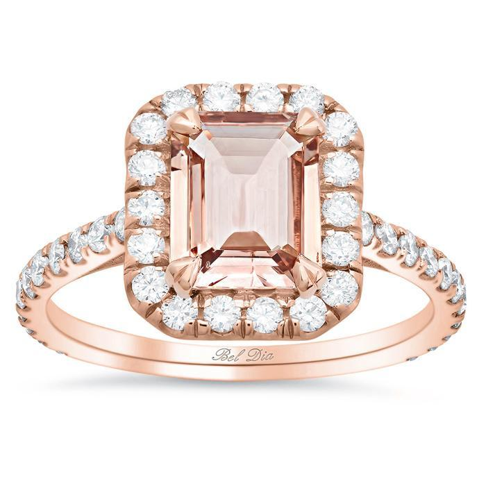 Rose Gold Halo Engagement Ring for Emerald Morganite Rose Gold & Morganite Engagement Rings deBebians