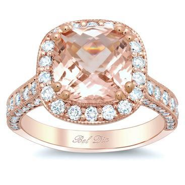 Rose Gold Halo Engagement Ring Setting with Morganite Rose Gold & Morganite Engagement Rings deBebians