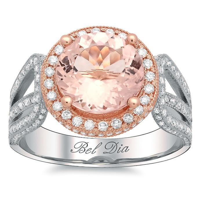 Rose Gold Round Halo Engagement Ring with Morganite Rose Gold & Morganite Engagement Rings deBebians