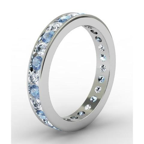 Round Aquamarine and Diamond Eternity Ring in Channel Setting Gemstone Eternity Rings deBebians