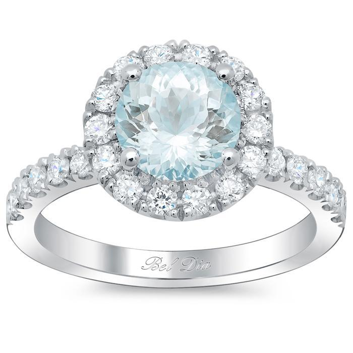 Round Aquamarine Halo Engagement Ring Aquamarine Engagement Rings deBebians