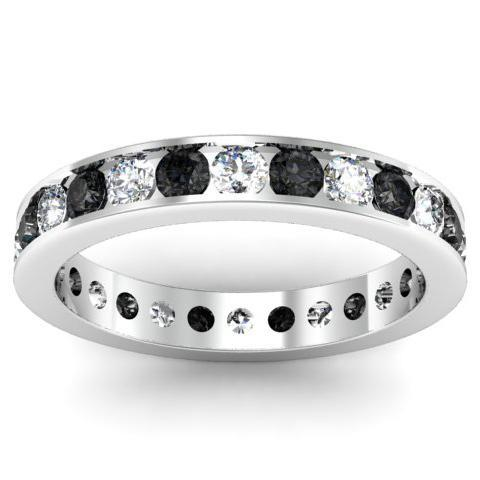 Round Black and White Diamond Eternity Band in Channel Setting Gemstone Eternity Rings deBebians