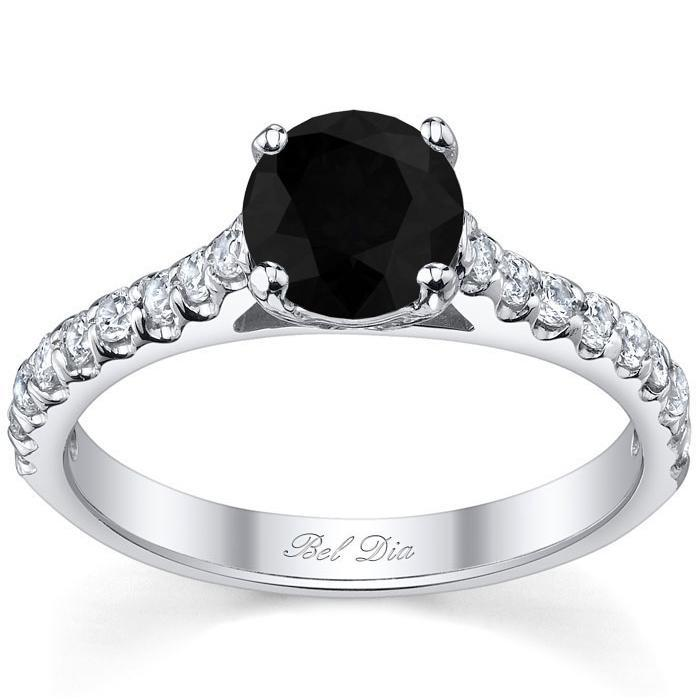 Round Black Diamond Engagement Ring with Accents Black Diamond Engagement Rings deBebians