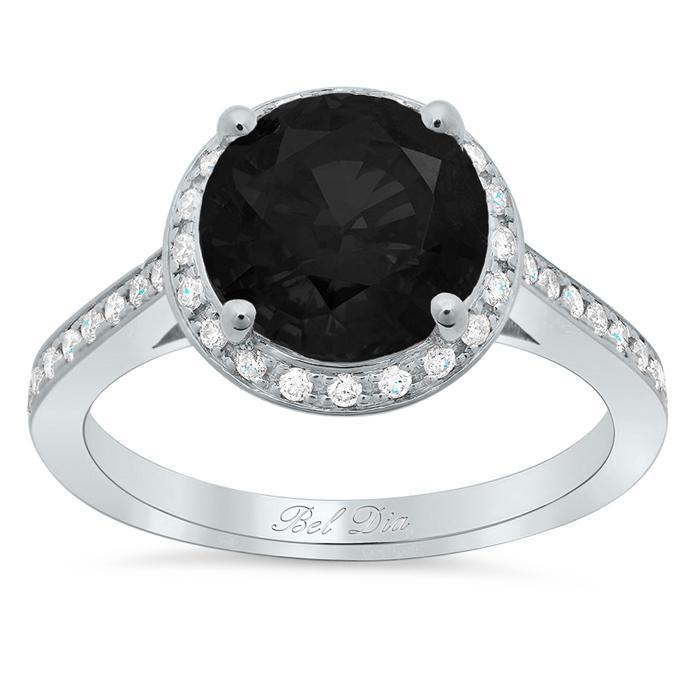 Black Diamond Engagement Ring with Tapered Milgrained Band