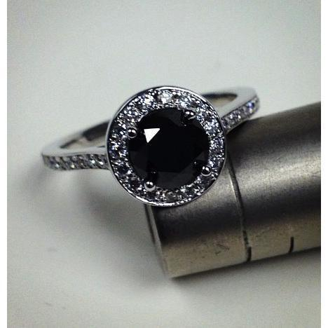 Round Black Diamond Halo Engagement Ring Black Diamond Engagement Rings deBebians