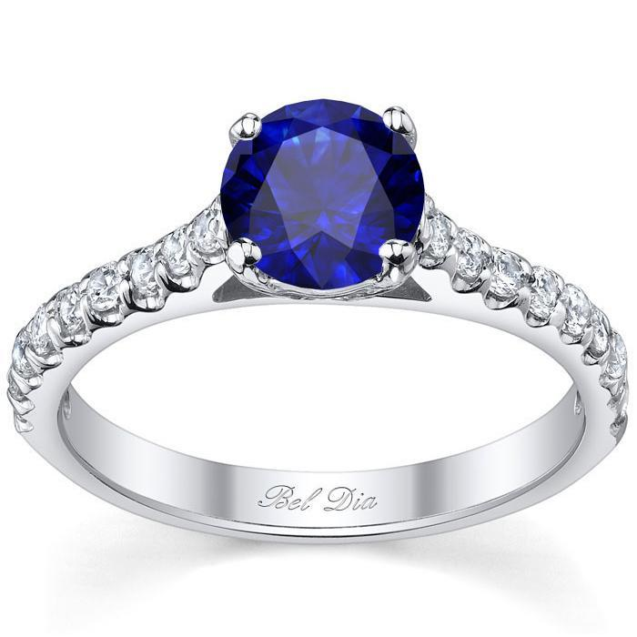Round Blue Sapphire Engagement Ring with Accents Sapphire Engagement Rings deBebians
