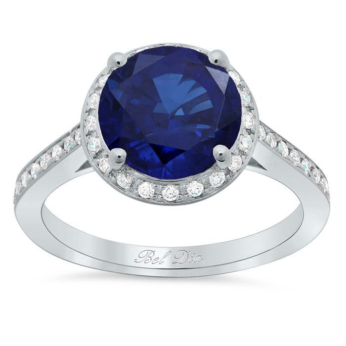 Round Blue Sapphire Halo Engagement Ring Sapphire Engagement Rings deBebians