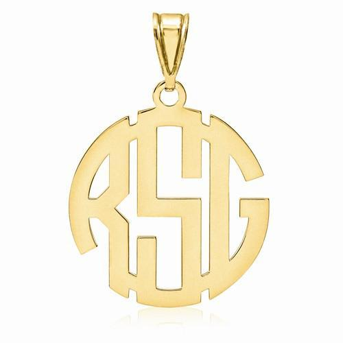 Round Carved Monogram Pendant Personalized Necklaces deBebians