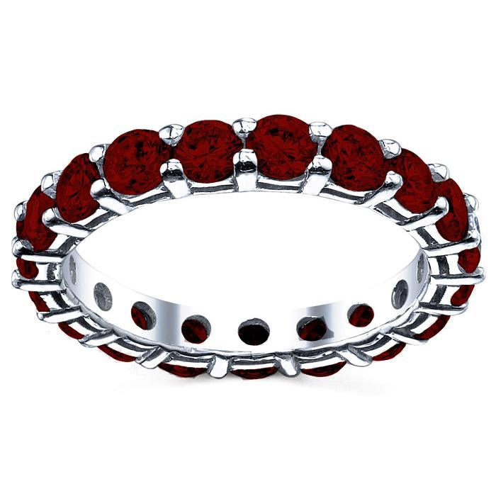 Round Cut Garnet Birth Stone Eternity Band Gemstone Eternity Rings deBebians