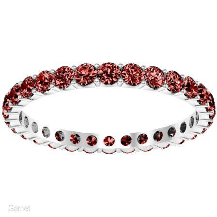 Round Cut Garnet Birthstone Eternity Band Gemstone Eternity Rings deBebians