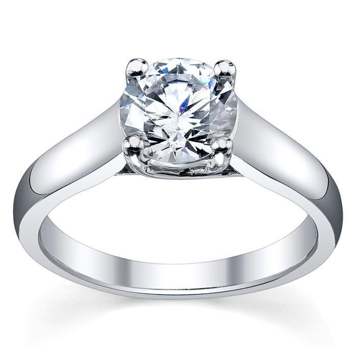 Round Cut Trellis Solitaire Diamond Ring 3.5mm Solitaire Engagement Rings deBebians