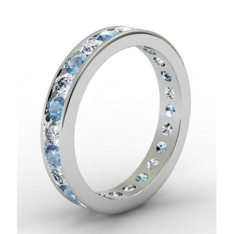 Round Diamond and Aquamarine Eternity Band in Channel Setting Gemstone Eternity Rings deBebians