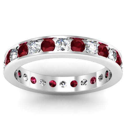 Round Diamond and Garnet Eternity Ring in Channel Setting Gemstone Eternity Rings deBebians