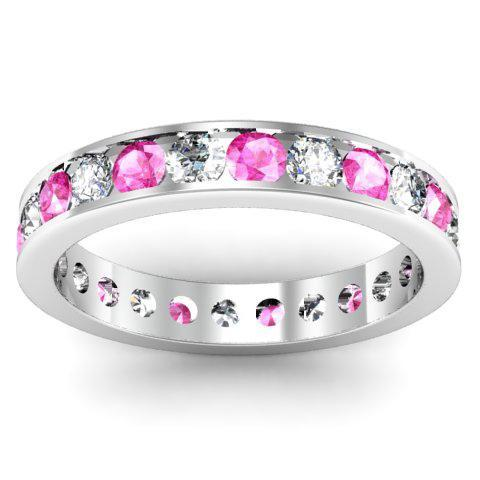 Round Diamond and Pink Sapphire Eternity Band in Channel Setting Gemstone Eternity Rings deBebians